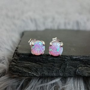 Sterling Silver Round Pink Lab Opal Earrings